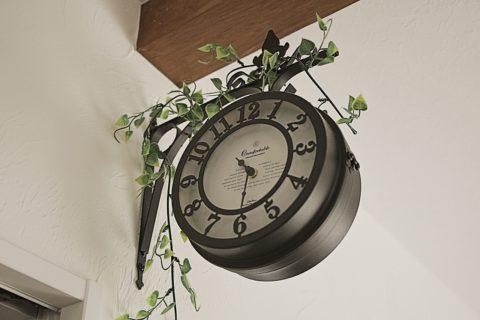 <オシャレなレトロ時計>カフェ風、ナチュラルなお部屋にオススメ両面時計
